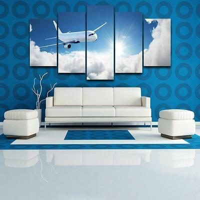 Plane Above The Clouds 5 Piece Canvas Art Wall Art Picture Painting Home Decor