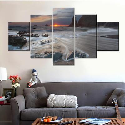 Beautiful Sea Wave 5 Piece Canvas Art Wall Art Picture Painting Home Decor