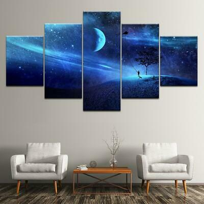 Space Fantasy Moon Sky 5 Piece Canvas Art Wall Art Picture Painting Home Decor