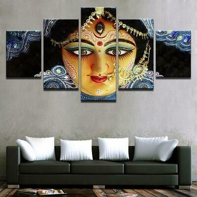 Goddess Durga Face 5 Piece Canvas Art Wall Art Picture Painting Home Decor