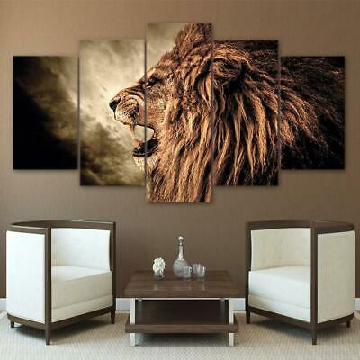 Vintage Fierce Lion Face 5 Piece Canvas Art Wall Art Picture Painting Home Decor