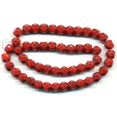 Vintage Cherry Red Beads 8mm English Cut Opaque Glass 50 Pcs.
