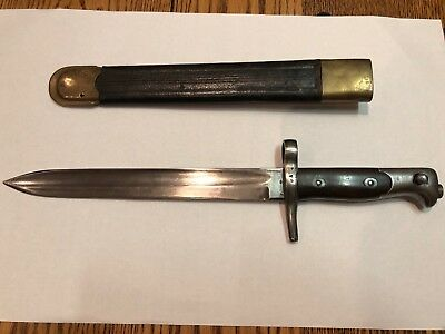 Excellent Italian Bayonet Model 1871/87/1916 with Leather & Brass Scabbard