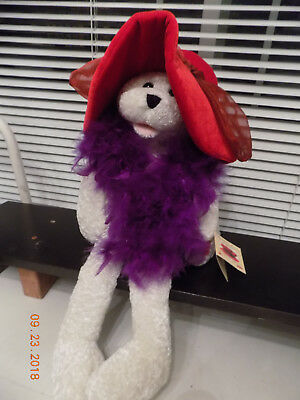 "Red Hat Society Musical Teddy Bear Sings ""Girls Just Want To Have Fun"""