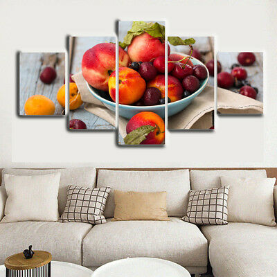 Red Fruit Peach Berries 5 Piece Canvas Art HD Print Picture Home Wall Decor