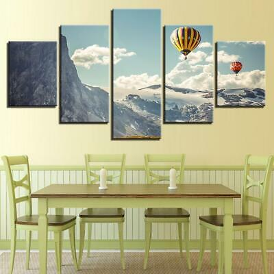 Hot Air Balloon Mountain 5 Piece Canvas Art Wall Art Picture Painting Home Decor