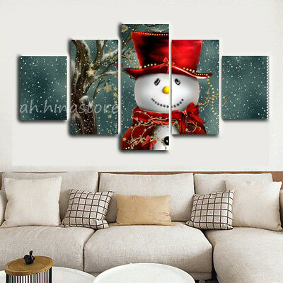 Snowman in Ice Christmas 5 Pieces Canvas Art HD Print Picture Home Wall Decor