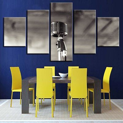 Mono Chrome Microphone 5 Piece Canvas Art Wall Art Picture Painting Home Decor