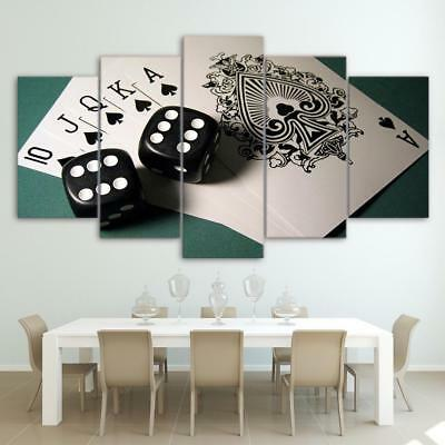 Royal Flush Cards Dice 5 Piece Canvas Art Wall Art Picture Painting Home Decor