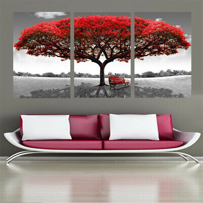 Red Tree in Nature Field 3 Piece Canvas Wall Art Picture Painting Home Decor
