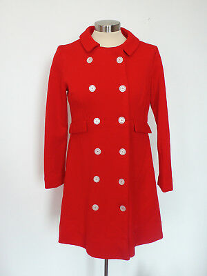 Vintage 1960's Red Mod Jacket Dress Double Knit Stretch Wool Size S/M
