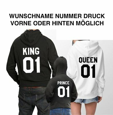 Cap /& Hoodie mit KIng Queen Motiv Pullover 4er Set Partner Look XS bis 4XL