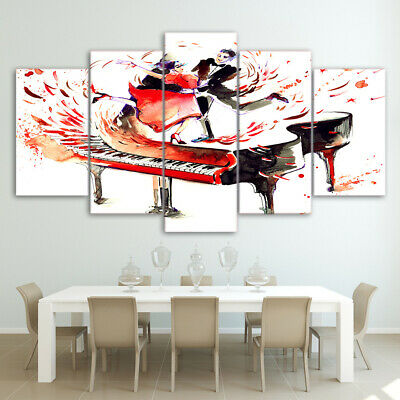 Piano Couple Dance painting 5 Piece Canvas Wall Art Printed Picture Home Decor