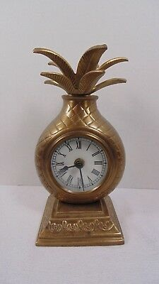 Classic Cast Brass Pineapple Shelf Clock Quartz Movement Market Bazaar Vintage