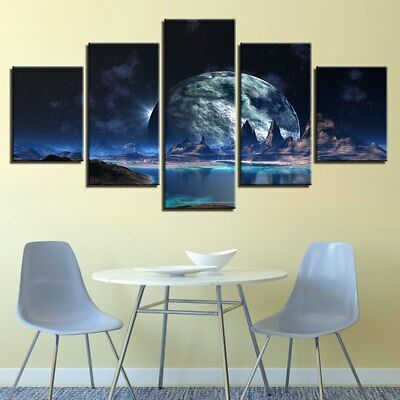 Lunar Starry Sky Mountain Space 5 Piece Canvas Art Print Picture Wall Decor