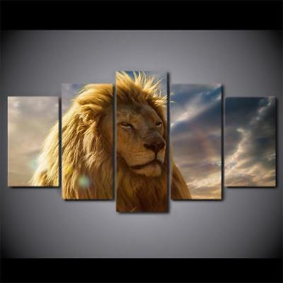 Lion King Face Wild Animal 5 Piece Canvas Art Print Picture Wall Decor