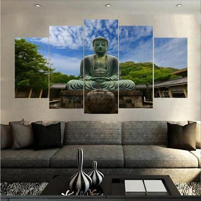 Natural Green Buddha 5 Piece Canvas Art Wall Art Picture Painting Home Decor