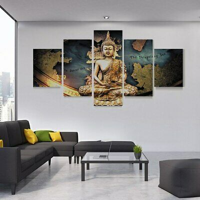Peace Buddha Meditation 5 Piece Canvas Art Wall Art Picture Painting Home Decor