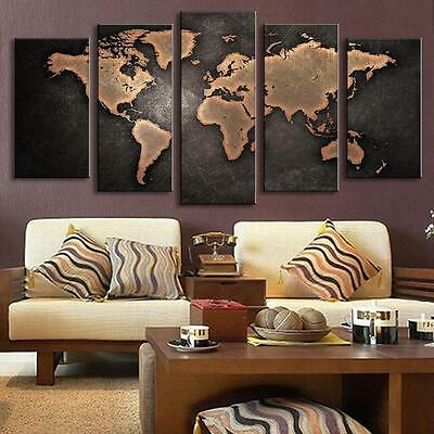 5pcs CANVAS Retro Vintage World Map Wall Art Painting Printed Poster Decor Print