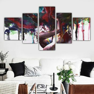 Abstract Art Love Couple Hug 5 Piece Canvas Art Print Picture Wall Decor