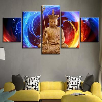 Buddha Fire and Water 5 Piece Canvas Art Wall Art Picture Painting Home Decor