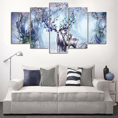 Abstract Fantasy Flower Deer Animal 5 Pcs Canvas Art Wall Art Picture Home Decor