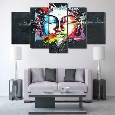 Abstract Colorful Buddha 5 Piece Canvas Art Wall Art Picture Painting Home Decor