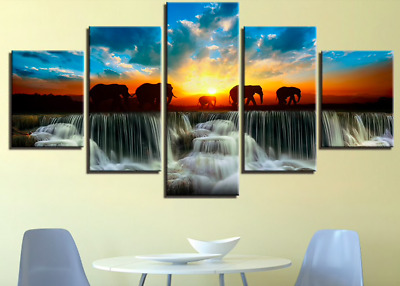 Elephant Waterfall Sunset 5 Piece Canvas Art Wall Art Picture Home Decor