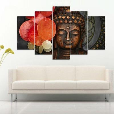 Buddha Face and Red Flower Religious 5 Piece Canvas Art Print Picture Wall Decor