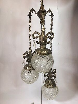 Vintage Mid Century Hollywood Regency 3 Globe Chandelier