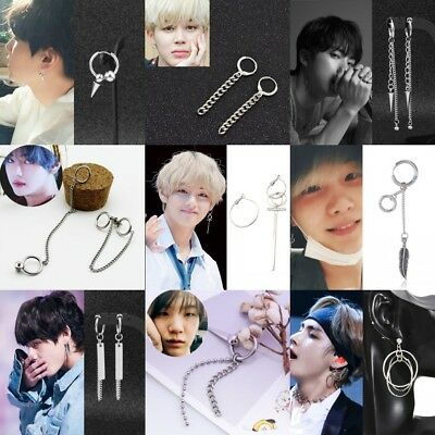 Lots KPOP BTS V Earrings Bangtan Boys V Stud Doulbe Ring Chain Earrings Fashion