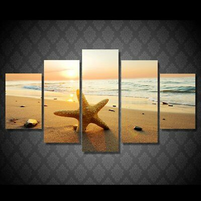 HD sea ocean sunset beach Nature 5 Piece Canvas Art Framed Print Wall Home Decor