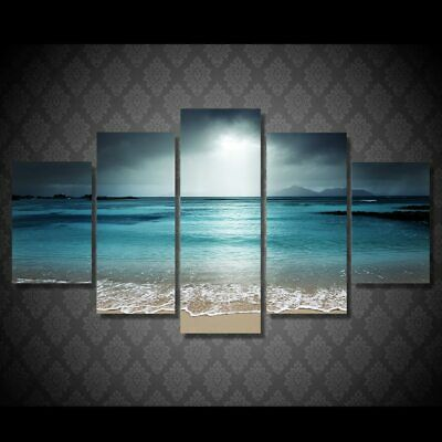 Dreamy Blue Ocean Beach Nature 5 Piece Canvas Framed Printed Wall Art Home Decor