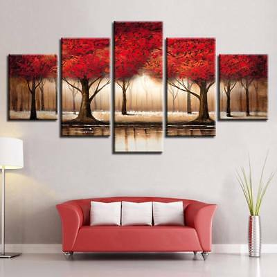 Parade of Red tree Landscape 5 Pcs Canvas Wall Art Print Picture Home Decor
