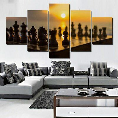 Chess Board Under Sunset  5 Pcs Canvas Wall Art Print Picture Home Decor