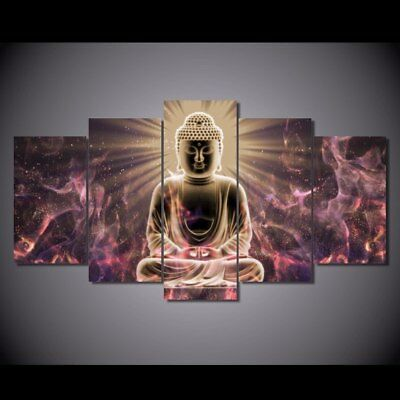 Abstract Buddha Glowing Religious 5 pcs Canvas Art Framed Print Wall Home Decor