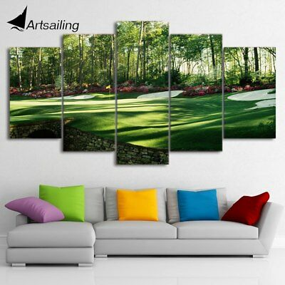 Golf Course Painting Green Sports 5 pcs Canvas Art Framed Print Wall Home Decor