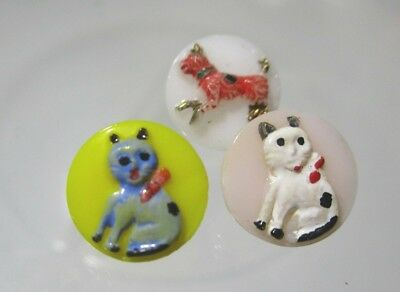 VINTAGE H-P YELLOW PINK WHITE GLASS CHILDREN'S BUTTONS 2 CATS & A DOG 1/2 inch