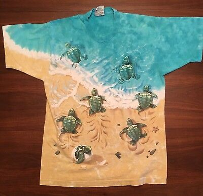 Vintage 1996 Liquid Blue Sea Turtles Beach Shells T-Shirt Men's Size Large