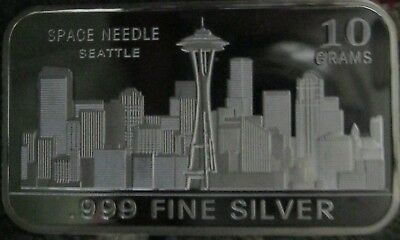 10 GRAMS GR G .999 Fine Pure Solid Silver Bullion Bar/ Space Needle Seattle