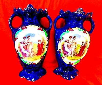 Pair of Pictorial Porcelain Vases Signed by Angelica Kauffman