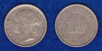 British Empire Straits Settlements Victoria Silver Ten Cents 1889 Xf  ---  Pagv