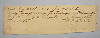 Republic of Texas Receipt for Twenty Dollars signed by Preacher John May Becton