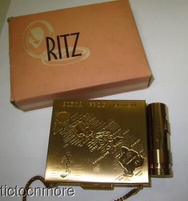 Vintage Ritz Golden Aloha Hawaii Lipstick Mirror Compact Carryall Minaudiere Box
