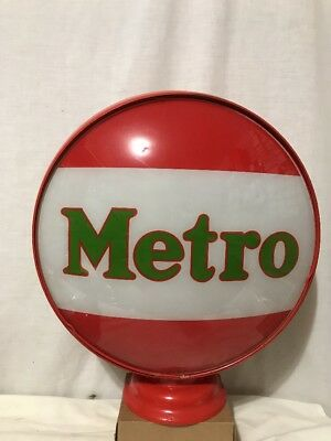 Rare Mobil Oil Metro Gasoline Gas Pump Globe Metal Body