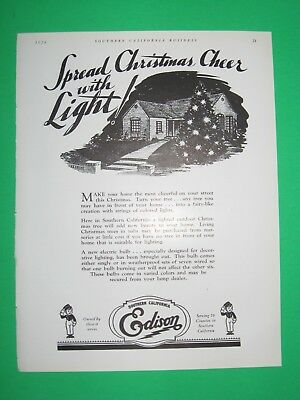 1928 SCBD Ad Spread Christmas Cheer w Light Southern California Edison Electric