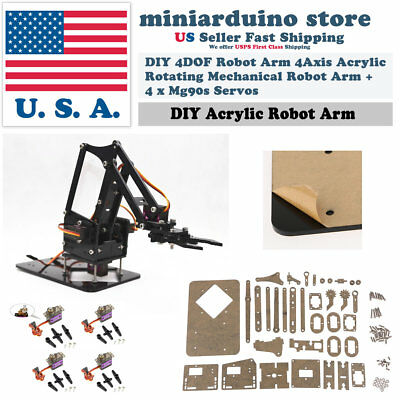 DIY 4DOF Robot Arm 4Axis Acrylic Rotating Mechanical Robot Arm w/ Arduino UNO R3
