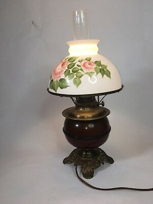 vintage brass oil lamp Hand Painted Milk Glass Shade