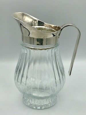 Vintage Silverplated Italy Heavy Ribbed Glass & Silverplate Pitcher With Ice Lip