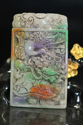 Exquisite Chinese old jade Hand Carved Dragon Statue / Pendant    a72